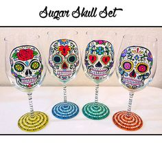 Sugar Skull Wine Glasses, Day of the Dead, Wine Glass, Calaveras, Mexican Art, hand painted by NocturnalPandie - Etsy