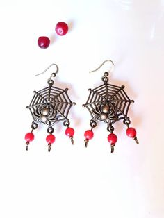 Spider Earrings Red Coral Helloween Jewelry Spider Web Earrings Dangle Drop Brass Red Stone Copper Earrings Gothic Insect Earrings Helloween Seed Bead Earrings, Copper Earrings, Dangle Earrings, Boho Jewelry, Beaded Jewelry, Nautical Earrings, Spider Earrings, Spider Webs, Red Coral
