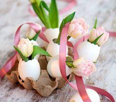 Tischdeko zu Ostern eierschale schleife rosa schale