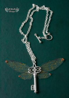 Fairy wing necklace. Glitter jewelry. Harry potter necklace. Key necklace. - pinned by pin4etsy.com
