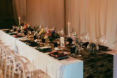 Black Abstract Wide Runner with bright napkins. Image by Vanessa Lynne Photography , design by Tin & Twine Events , venue Willow Ballroom