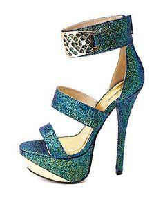 Qupid Iridescent Druzy-Textured Platform Heels: Charlotte Russe #shoeshighheelsfancy