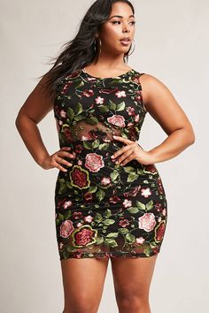 Forever plus size floral bodycon dress curves in Office Fashion Women, Curvy Women Fashion, Plus Size Fashion, Plus Size Cocktail Dresses, Plus Size Dresses, Plus Size Outfits, Looks Plus Size, Plus Size Model, Plus Size Peplum