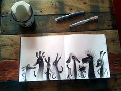 Monster Illustration, Children's Book Illustration, Illustration Animals, Illustrations, Monochromatic Art, Mediums Of Art, Artist Journal, Drawing Skills, Character Design Inspiration