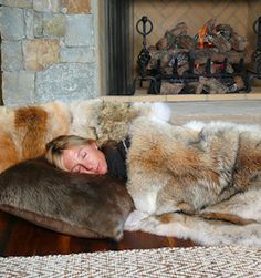 Coyote Fur Blanket and Beaver Pillow