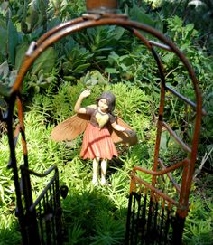 Miniature Garden Combo / Metal Twig Arbor with movable gates and Mary Barker Flower Fairy Figurine/Ornament