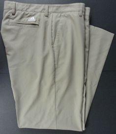 adidas Mens 36X32 Golf Pants Climacool Beige/Khaki Button Zip Closure Very Good…