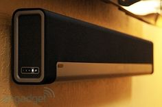 Sonos Playbar a home theater soundbar that wirelessly streams music from just about any device! Our new favorite toy! Sonos System, Audio System, Technology Gadgets, Tech Gadgets, Sonos Music, Wireless Home Theater, Tech Toys, Gadget Gifts, Cool Tech