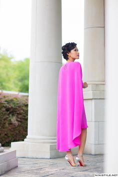 I've been working on producing more pieces and I'm so excited to announce that the Nini Circle Dress is now available in hot pink. Star Fashion, Trendy Fashion, Fashion Outfits, Women's Fashion, Fashion Trends, African Attire, African Dress, Cape Dress, Dress Skirt