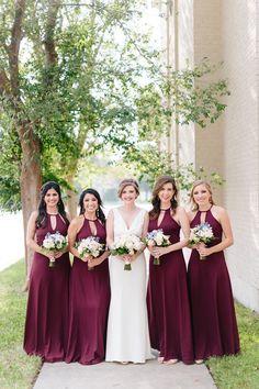 Maroon Bridesmaid Dresses - Paige Vaughn Photography