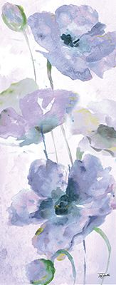 Watercolor Garden Purple Panel II 8x20 Tre Sorelle Studios