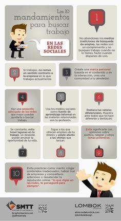 10 mandamientos para buscar trabajo en Redes Sociales #infografia #infographic #socialmedia