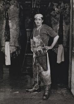 Andre Kertesz: Butcher at Les Halles, 1927. Paris.