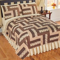 Reversible Camden Brown Patchwork Quilt from Collections Etc. Quilt Bedding, Bedding Sets, Duvet, Patchwork Quilt Patterns, Beginner Quilt Patterns, Patch Quilt, Quilt Blocks, Half Square Triangle Quilts Pattern, Bed Cover Design