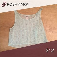VS Pink Lace Crop Top Only wore a few times. Good condition. Any questions please ask. It is a light teal/Aqua  color. PINK Victoria's Secret Tops Crop Tops