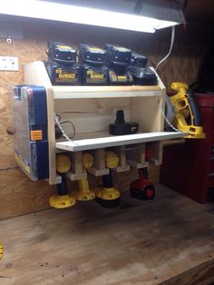 Drill charging station with storage