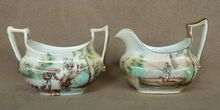 Royal Bayreuth cream and sugar set, hunting dogs, fishing c. 1900.  No escape from hunting and fishing.  Even at tea.