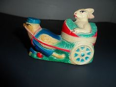 Vintage Plastic Celluloid Easter Rabbit Bunny Riding in Cart Chicken Eggs | eBay