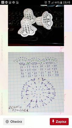 Witam:) To co wczoraj zobaczyłam na swojej tablicy na FB S - SalvabraniCrochet Patterns Christmas Photo only. No pattern - Salvabrani - SalvabraniAnges au crochet Plus - SalvabraniCrochet Bell About tall with threadLearning to knit crochet bells on Crochet Christmas Decorations, Christmas Crochet Patterns, Crochet Christmas Ornaments, Crochet Decoration, Crochet Snowflakes, Crochet Motifs, Crochet Diagram, Thread Crochet, Crochet Doilies