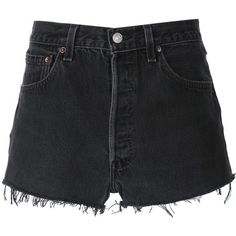 Re/Done denim shorts (1.725 DKK) ❤ liked on Polyvore featuring shorts, black, denim shorts, short jean shorts, jean shorts, vintage denim shorts and vintage shorts