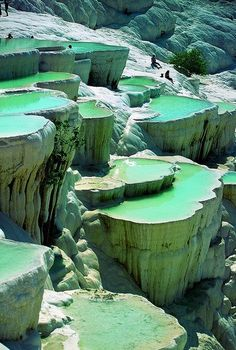 """The natural rock pools in Pamukkale, Turkey are an extraordinary natural wonder. Pamukkale, meaning """"cotton castle"""" in Turkish, is a natural site in Denizli Province. Pamukkale, Beautiful Places In The World, Places Around The World, Around The Worlds, Amazing Places, Beautiful Beaches, Amazing Things, Heavenly Places, Fun Things"""