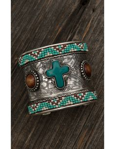 Blazin Roxx Ladies Silver with Turquoise, Brown, and Cream Beading and Large Cross Stone Cuff Bracelet | Cavender's