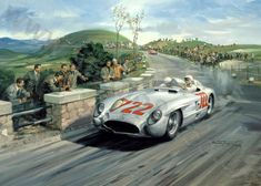 Stirling Moss, Mercedes, 1955 Mille Miglia - Motorsport art print by Michael Turner, signed by Stirling Moss