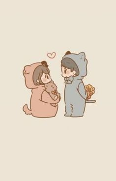 Cute Couple Drawings, Cute Little Drawings, Anime Couples Drawings, Cute Anime Couples, Cute Drawings, Cute Chibi Couple, Cute Couple Cartoon, Cute Couple Art, Cute Love Cartoons