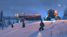 Missing person, Karasuendo – painting from Book Two from Tales from the Loop by Simon Stalenhag.