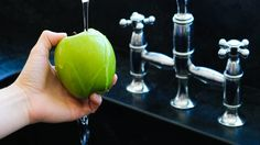 Rinse in 1 part salt to 9 parts water; removes pesticides. The Best Way to Wash Fruit and Vegetables | NutritionFacts.org