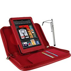 rooCASE Executive Portfolio Leather Case & Stylus for Amazon Kindle Fire Tablet - Red - via eBags.com!