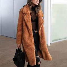 I love how long the coat is. This will keep your … Gorgeous Long Teddy Bear Coat. I love how long the coat is. This will keep your whole body warm in Winter. This coat is available in 6 different colors. Long Winter Coats, Winter Coats Women, Coats For Women, Jackets For Women, Long Coats, Fur Coats, Estilo Fashion, Ideias Fashion, Women's Fashion