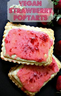 Homemade Vegan Strawberry Poptarts - These vegan strawberry toaster tarts are so addicting and delicious. They're a perfect vegan summer breakfast food for those who love nostalgic recipes, or just indulging in the morning. Click here for the recipe, or pin it for later <3