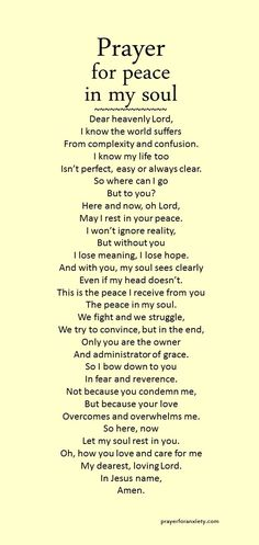 Prayer for Peace in Soul. Amen...Mildred Williams