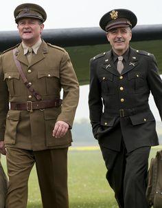 Downton Abbeys Hugh Bonneville in The Monuments Men, with Matt Damon and George Clooney George Clooney Films, Monuments, Downton Abbey Cast, Monument Men, Hugh Bonneville, American Hustle, Bob, Man Movies, Men In Uniform