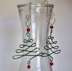 Green & Red Beaded Wire Christmas Tree Ornaments by KindredImages, $8.00