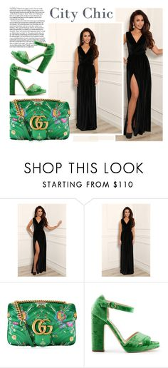 """""""Black velvet dress"""" by merima-kopic ❤ liked on Polyvore featuring Gucci and Rupert Sanderson"""