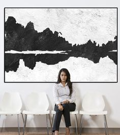 landscape Abstract wall art, extra large wall art, large abstract painting on canvas, black and white wall art, wall art acrylic painting