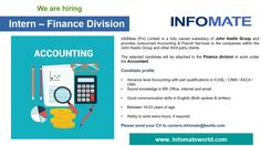 InfoMate (Pvt) Ltd is seeking candidate for Internship in Finance Division. You need Advanced level Accounting with part qualifications in ICASL / CIMA / AACA / CMA. Finance Tracker, Finance Jobs, Finance Blog, Weight Gain Meal Plan, Healthy Weight Gain, Healthy Recipes For Weight Loss, College Organization, Finance Organization, Logo Software