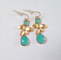 Mint & Floral Dangle Earrings on Etsy