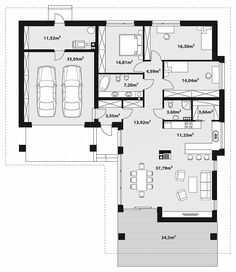 L Shaped House Plans, Small House Plans, Bungalows, Architectural Floor Plans, House Blueprints, Home Design Plans, Planer, Sweet Home, How To Plan