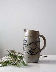 Vintage Ceramic Pitcher / Floral Pottery by 86home on Etsy, $63.75