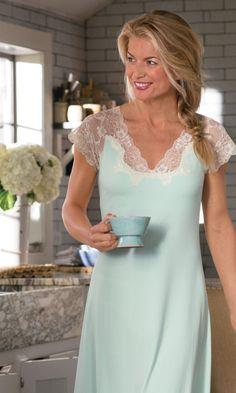 Shelf Bra Gown - Scalloped Lace Shelf Bra Nightgown, Night Gown ...