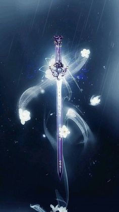 A magical sword with a mystical aura shrouding it. Sword Fantasy, Schwertkunst Online, Armas Ninja, Arte Sailor Moon, Cool Swords, Sword Design, Anime Weapons, Weapon Concept Art, Galaxy Wallpaper