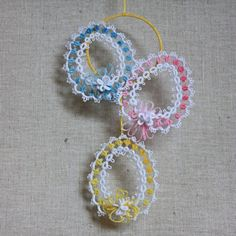 Velikonoční dekorace / Zboží prodejce Ivana.F | Fler.cz Tatting Lace, Crochet Earrings, Quilts, Christmas, Patterns, Jewelry, Diy And Crafts, Shuttle Tatting Patterns, Easter