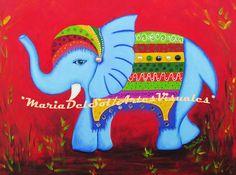 *Elefantis*, bastidor en tela , 60x80cm, òleo, acrilicos, gemitas, espejitos.  Elephantis , 60x80cm , oil, acrylic , gems , mirrors .