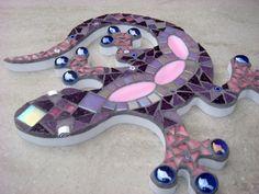 Gecko Lizard Mosaic Garden Ornament Wall Plaque by FunkyMosaicsUK