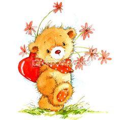 День святого Валентина. фон для карты с милым плюшевым мишкой и красным сердцем. акварельный рисунок — стоковое изображение #60932111