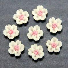 1pc-Volume heart cherry-Koshiro-Polymer Clay DIY Flowers for Earring Pendant Ring 8mm. $0.20, via Etsy.