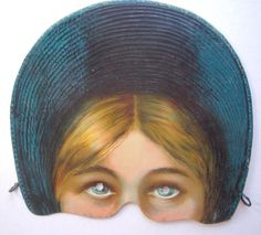 Full color lithograph of a mask of young woman from the Victorian era. The mask is on light cardboard. It was made by Raphael Tuck & Sons and is